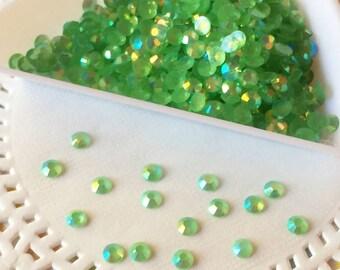 Acrylic flatback rhinestones - 3mm Jelly Rhinestones - Spring Green AB Jelly Rhinestone - 250 Pieces