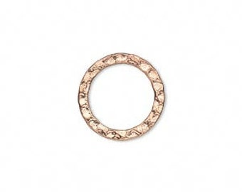 Hammered Round Connector Rings - Bright Copper/ Gold / Bright Silver -16mm - Pack 4