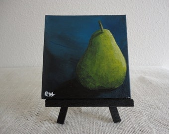 Acylic Painting of Pear on 4x4 Canvas with Mini Easel