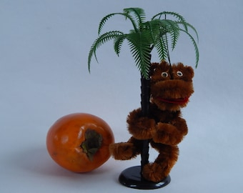 Vintage Soviet Plush Monkey and Plastic Palm Tree Souvenir Russian Jalta Souvenir 1980 s. Made in USSR Collectible