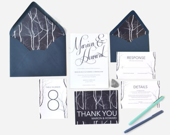 Modern Birch Tree Wedding Invitation in Blue and White - FREE SHIPPING - Marion Collection