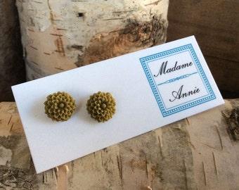 Small Olive Chrysanthemum Stud Earrings