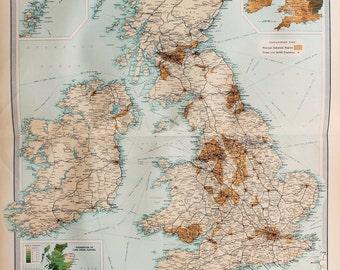 Huge 1922 Antique Map, British Isles Map, Railways & Industrial, Vintage Colour Map (16)