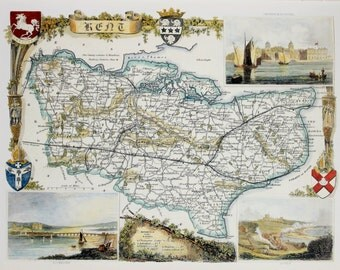Vintage Map, Kent, Thomas Moule County Map of Old England.