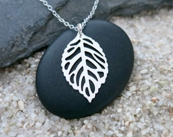 Silver Leaf Necklace, Sterling Silver Filigree Leaf Charm, Nature Jewelry