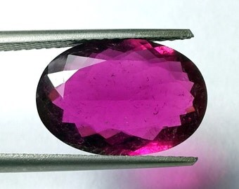 Hot Pink Tourmaline Faceted cut oval- Emerald Cut Oval 13.5x9 M.M.