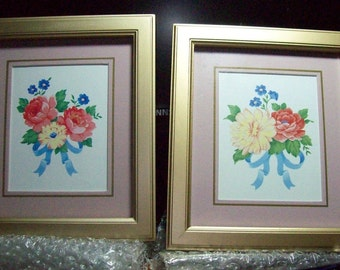 Avons RIBBONS and  ROMANCE Framed Prints COLLECTION Duo this price is for the pair Perfect for Bedroom or Powder Room~Great   Reduced 55 %