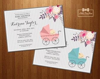 Girl Boy Baby Shower Invitation Printable, Floral Pram Baby Girl Baby Shower Invitation, Baby Boy Baby Shower Invitation