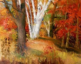 Original Painting Birch Tree original landscape oil painting impressionist painting landscape oil painting by Tom Fisher