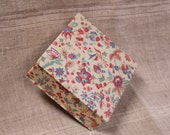 Vintage French button box, fabric-covered cardboard