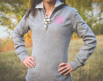 Monogrammed Quarter Zip Sweatshirt | Monogrammed Sweatshirt | Monogrammed Pullover Sweatshirt | Monogram Half Zip | Gift for Her