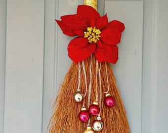 Christmas Décor, Christmas Swag, Holiday Broom Decoration, Ornament Décor, Poinsettia Decoration, Home Décor, Christmas Poinsettia