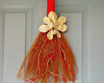 Christmas Décor, Christmas Wreath, Red Berries, Christmas Swag, Holiday Broom Decoration, Home Décor,