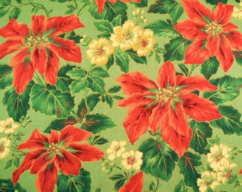 Christmas Fabric with Poinsettias