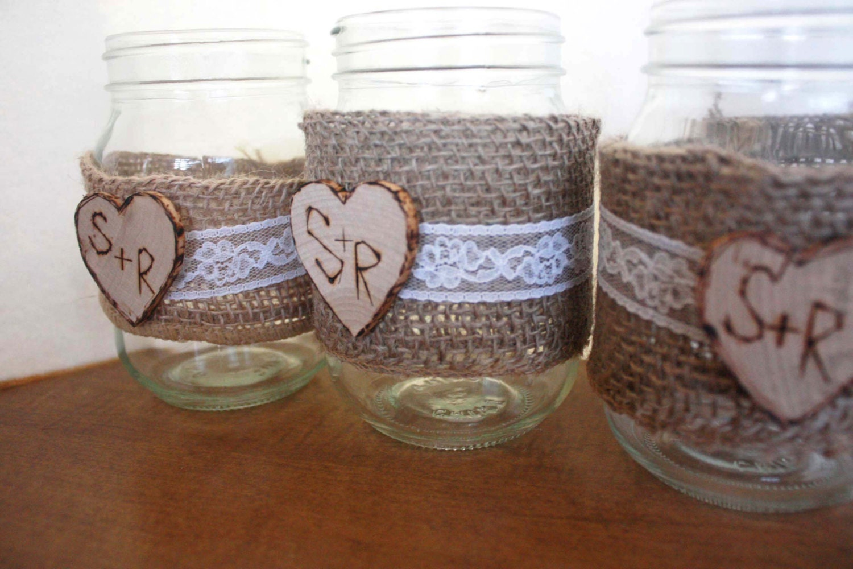 Wedding Ideas Using Mason Jars: Mason Jar Burlap And Lace Mason Jar Set Of 3 Rustic Wedding