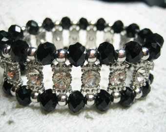 Vintage Black Glass & Rhinestone Wide Bracelet