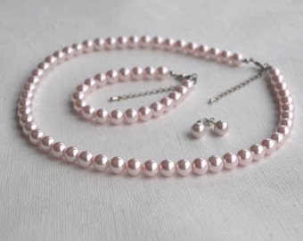 pink pearl set,select size,pearl necklace pearl bracelet and pearl earring  set,wedding pearl set ,bridesmaids pearl set,glass pearls set