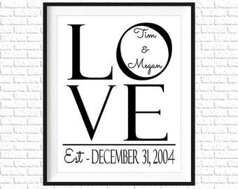 Personalized Wedding Wall Art | LOVE | Home Wall Decor | Marriage | Wedding Printable