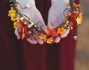 Fall Flower Crown, Fall Brides, Bridesmaids, Flower Girls, or Everyday Wear. [the Autumn]