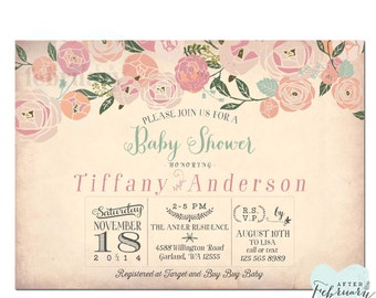 Whimsical Floral Baby Girl Shower Invitation Baby Shower Invite - Vintage Peach Background - Typography - Printable OR Printed No.537BABY