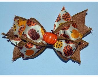 Fall pumpking hair bow