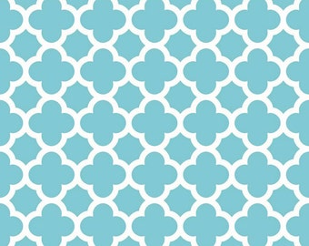 Riley Blake aqua quatrefoil fabric teal quatrefoil fabric turquiose quatrefoil sewing quilting apparel fabric by the yard modern quatrefoil