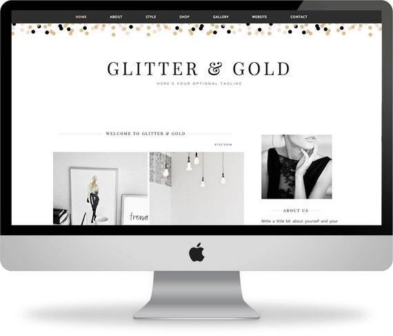 SALE! Premade Blogger Template - Instant Download - Glitter & Gold - Blogger Template - Blogger Theme - Blog Design - Blogger Blog Template