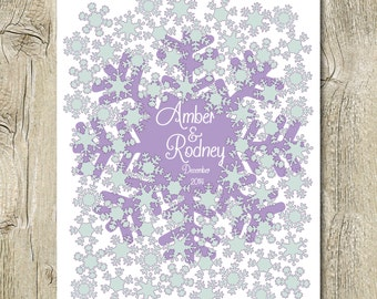 winter wedding guest book alternative poster printable digital wedding signature poster snowflakes wedding guestbook for 70 signs pdf jpg