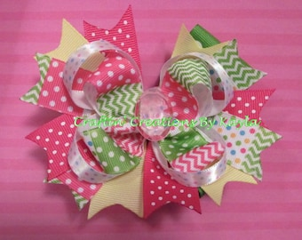 5 Inch Stacked Boutique Easter Bow