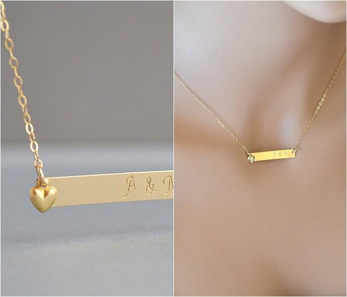 14k gold bar necklace personalized bar bar monogram gold