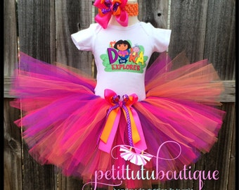 Dora the Explorer Dora and Friends Birthday Tutu set any size available 12m to 10y FREE Headband and Personalization