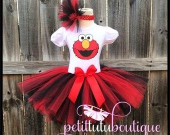 Elmo Birthday Tutu set any size available 12m to 8y FREE Headband