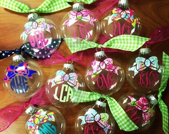 The ORIGINAL Lilly Pulitzer Bow Monogram Preppy Christmas Ornament