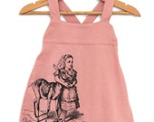 Baby Girl Pink Overall - Alice in wonderland - Alice with Bambi Black Print