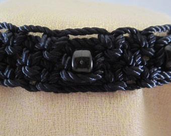 Macrame'Choker-Black with beads. The pattern is one of a kind and is of my own design. This piece will accentuate your attire, a great gift.