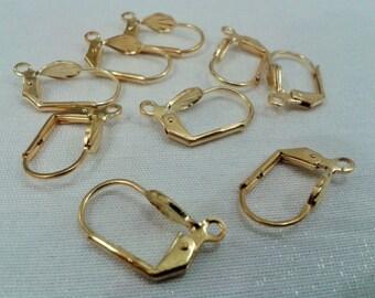 40 Pcs Raw Brass  10 x 18 Leverback Earrings , Earring Hook