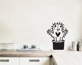 Wall Decal Free Hugs Cactus- Vinyl Door Decal- Home Decor- Wall Art