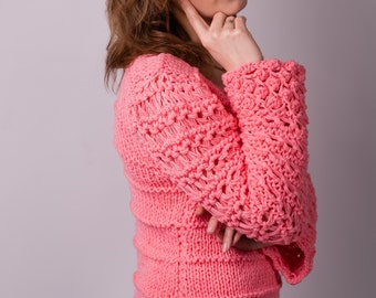 Hand made knitted women's chunky sweater  size L
