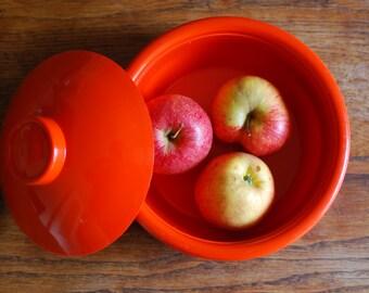 Bowl with lid Vintage 1970s ORANGE