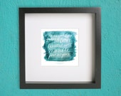 le petit prince quote // turquoise watercolor 8x8 square calligraphy art print