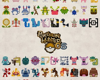 Pokemon Hunter Gold Silver Crystal HeartGold SoulSilver heart Soul Poster Johto Monster