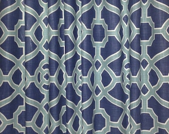 Geometric Curtains Trellis Curtains Fret Curtains Blue Curtains Aqua Curtains Indigo Curtains  P Kaufmann Pavilion ONE PAIR