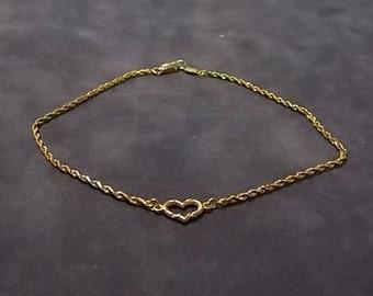 Women's Vintage Estate 14K Gold Rope Bracelet W/ Heart 2.3g E1391