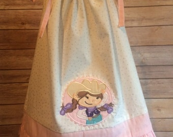Cowgirl Pillowcase style dress with matching bloomers - add a name for free