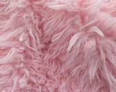 Faux Fake Fur Sherminky Soft Goat Hair Pink 60 Inch Fabric by the Yard, 1 yard