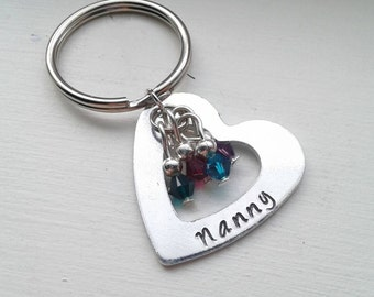 Personalized Hand Stamped Heart Keychain With Birthstones - Mom, Grandma, Aunt, Wife, Godmother Gift, Nanny, Name, Wife, Auntie, Sister