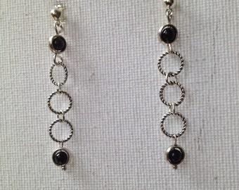 Stud dangle chain and gemstone earrings