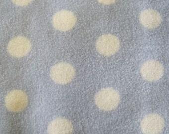 Polar fleece baby blue with white polka dots per metre - FREE shipping