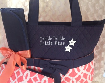 Adorable 3 pc custom Diaper Bag Set!!!! Twinkle Twinkle Little Star