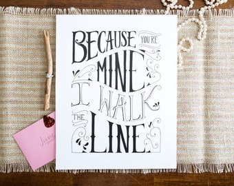 Walk The Line Print - White